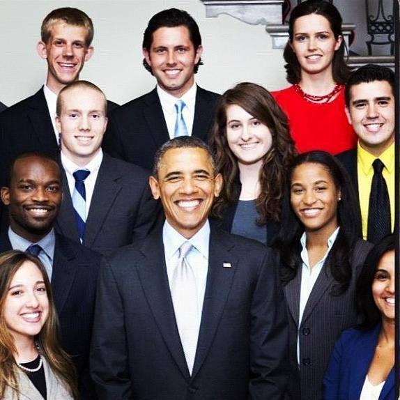 President Obama with summer interns