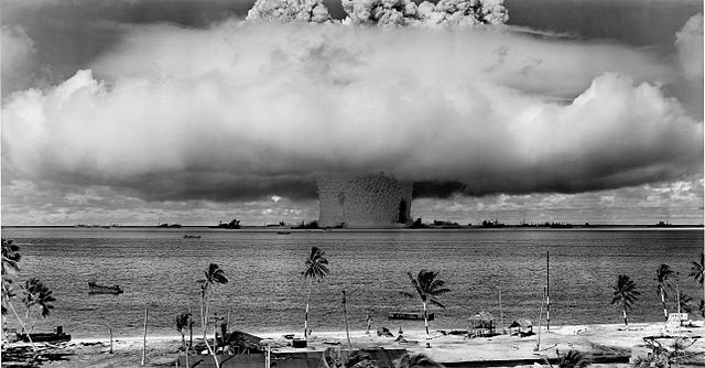 Example of a mushroom-cloud and water column from underwater explosion test in 1946 in the Marshall Islands.