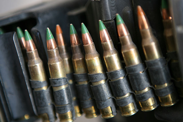This ammunition belt contains a type of bullet that can be used in the AR-15 rifle.