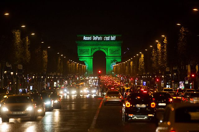 Celebratory lights in Paris for climate change agreement