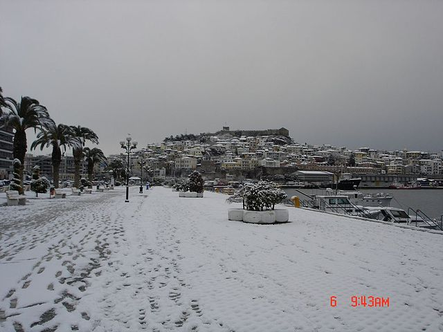 Greek City covered in Snow