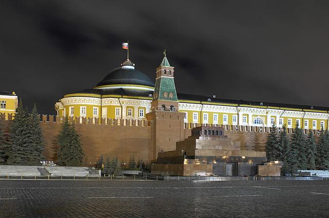 Night view of the Kremlin Senate, the Kremlin's Senatskaya Tower, and Lenin's Mausoleum , in Red Square