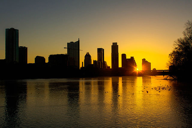 The skyline of Austin, TX viewed at sunrise from Zilker Park on February 17th, 2012