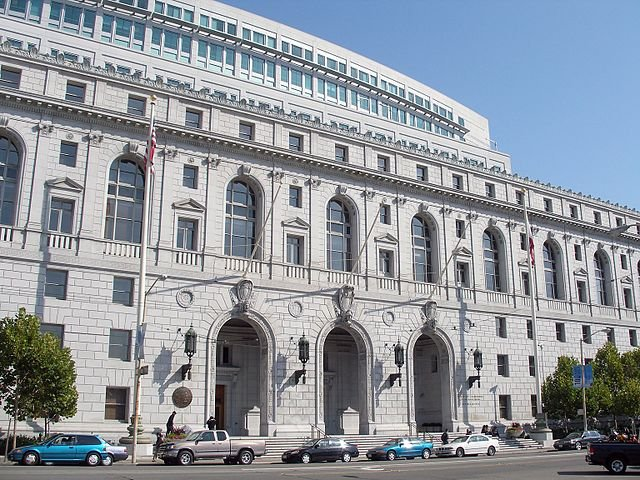 The Earl Warren Building and Courthouse (former California State Building) — at Civic Center Plaza in the San Francisco Civic Center, California.