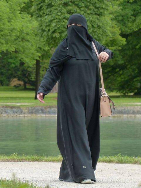 Woman wearing burqa