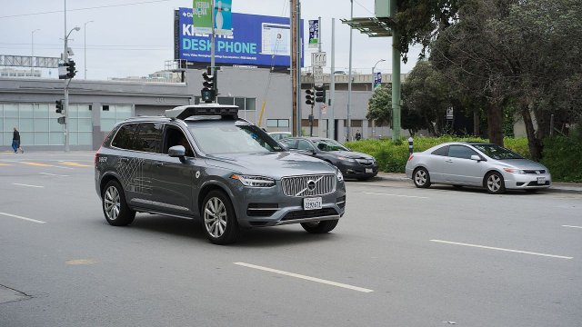 A self driving Volvo XC90 by Uber seen in San Francisco.