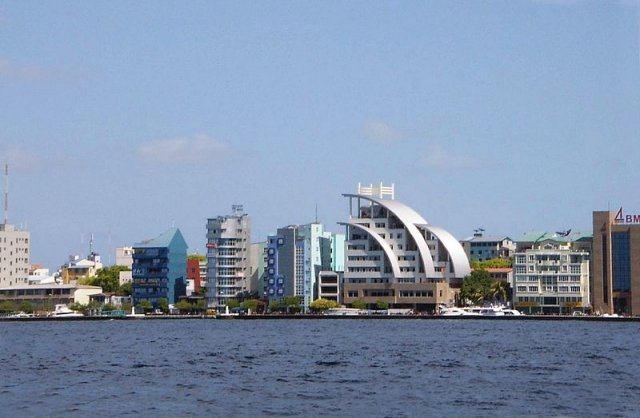 Close up of Malé skyline