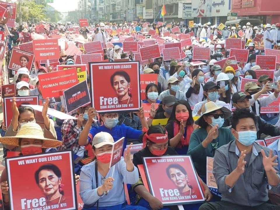 Myanmar protests against military coup resume in defiance of stiffened penal laws after internet blackout lifted